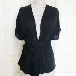 Anthropologie Draped Black Kimono Sweater